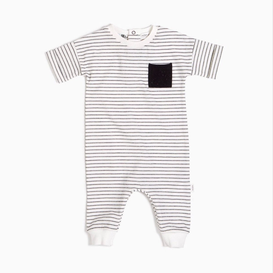 20SMW51318 - Miles Basic Unisex Baby Striped Playsuit Jumpsuits / Rompers Miles Baby 3 Months