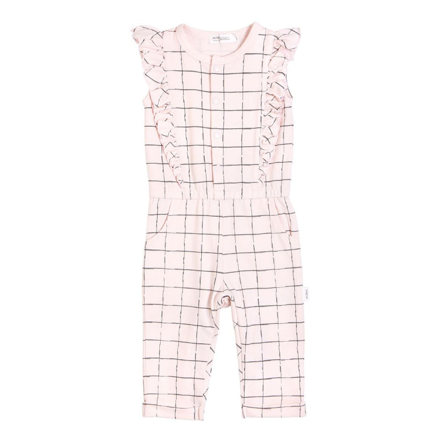 20SMW53306 Miles Baby - Baby Girl's Grid Romper Jumpsuits / Rompers Miles Baby 3 Months