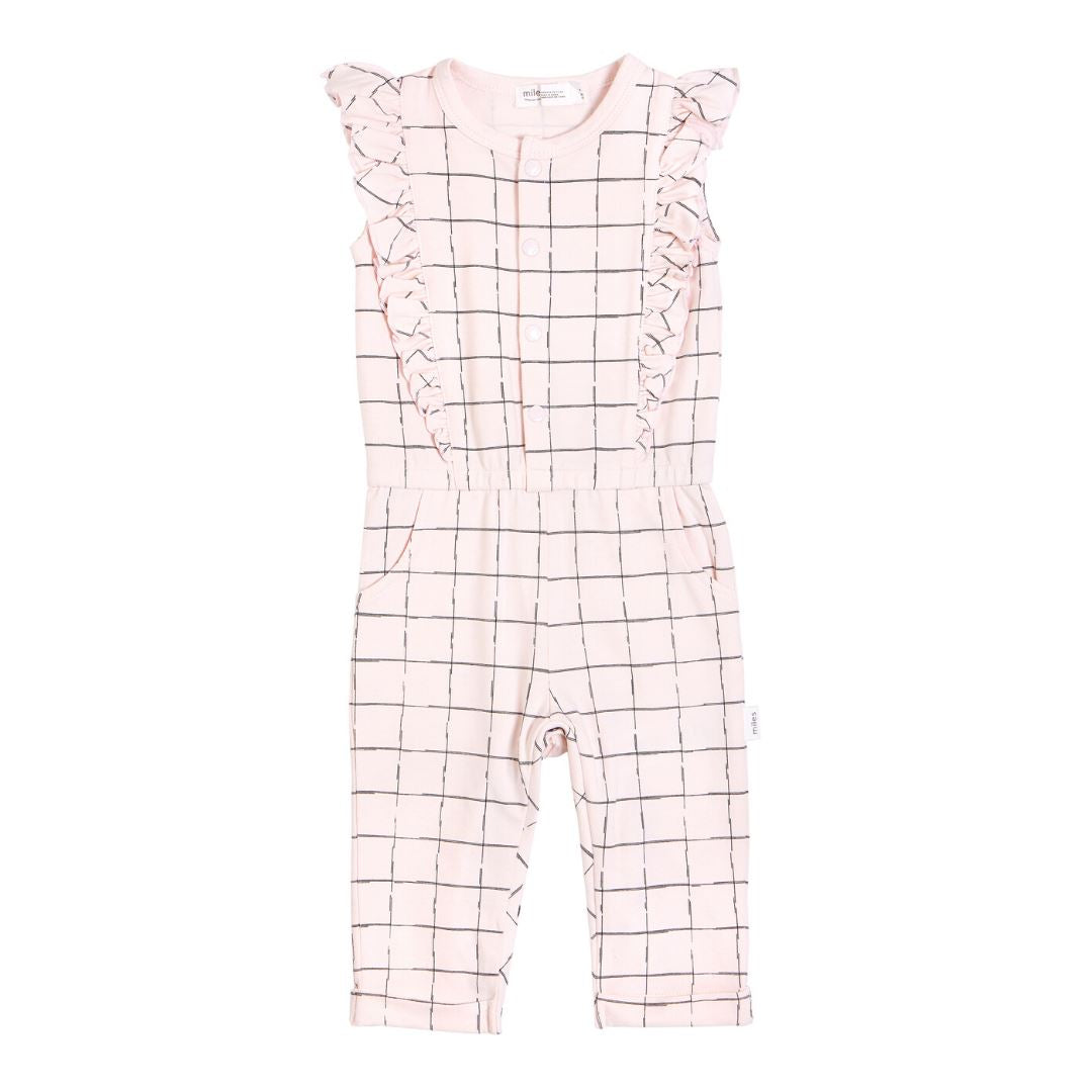 20SMW53329 Miles Baby - Girl's Grid Playsuit Jumpsuits / Rompers Miles Baby 2 Years