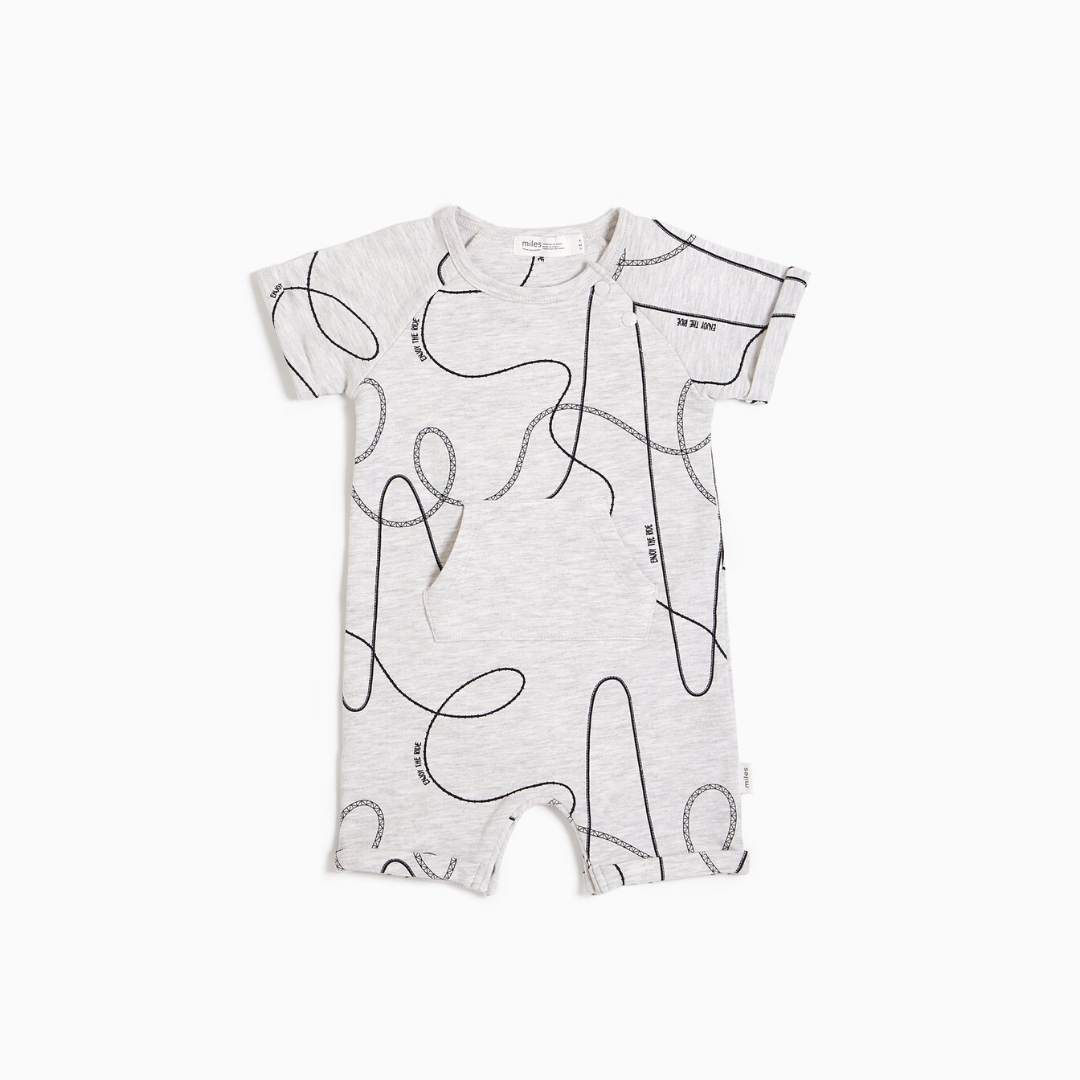 20SMW54309 - MILES BABY Tracks Short Sleeve Romper - Light Heather Grey Romper Miles Baby