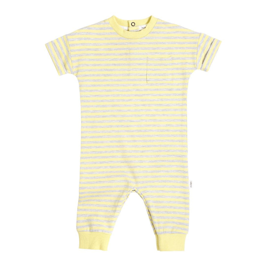 20SMW55310- MILES BABY Short Sleeve Playsuit - Light Yellow Romper Miles Baby