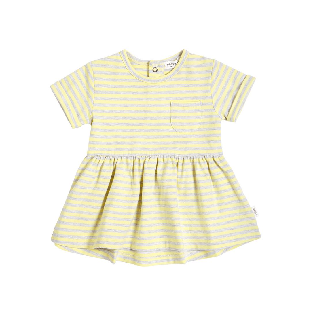 20SMW55603 Miles Baby - Girl's Striped Dress - Light Yellow Dress Miles Baby