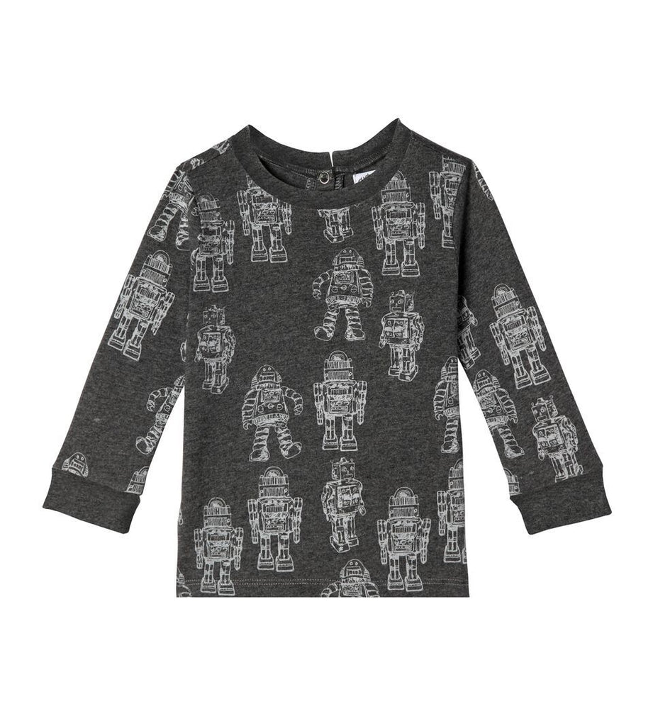 2205 - Art & Eden Robots Crewneck Organic Cotton Baby Boy & Boys Long Sleeve Shirt Long Sleeve Shirts Art & Eden