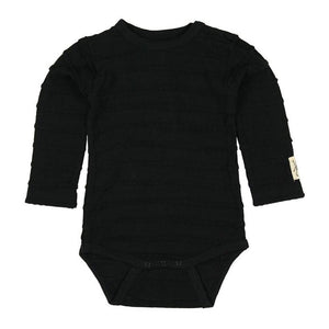 60732 Small Rags - Hella Girls Long Sleeve Onesie - Black Onesie Small Rags