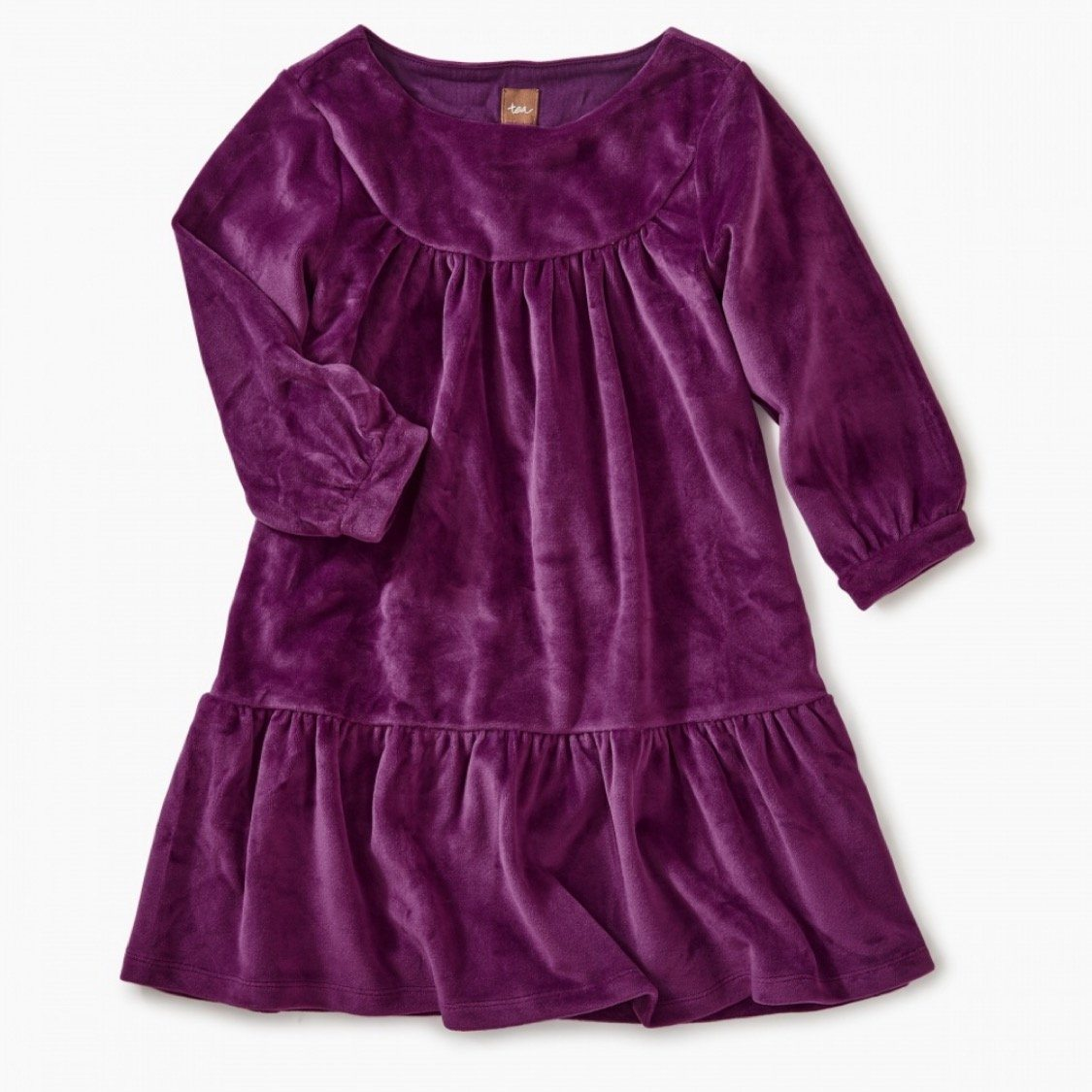 8W12302 Tea Collection - Velour Cosmic Berry Ruffle Dress Dress Tea Collection