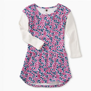 8W32308 Tea Collection - Layered Sleeve Blueberry Blooms Girls Pocket Dress Dress Tea Collection