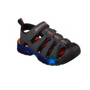 90707L-CCRY Skechers Lights Flex-Flow Charcoal / Royal (Kids 11 - Youth 5) footwear Skechers
