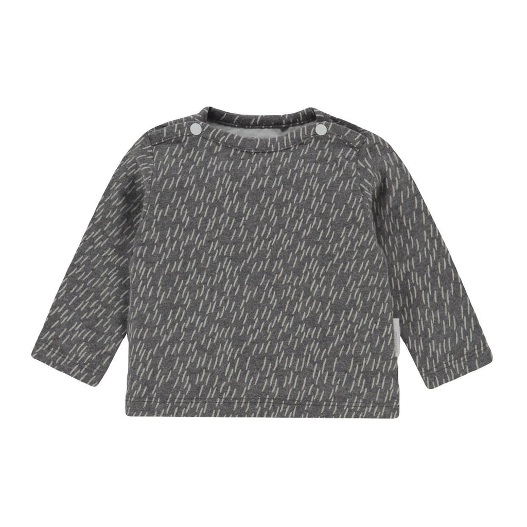 94503 - Noppies - Quzhou Unisex Baby Organic Long Sleeve Top - Grey Melange Long Sleeve Shirts Noppies