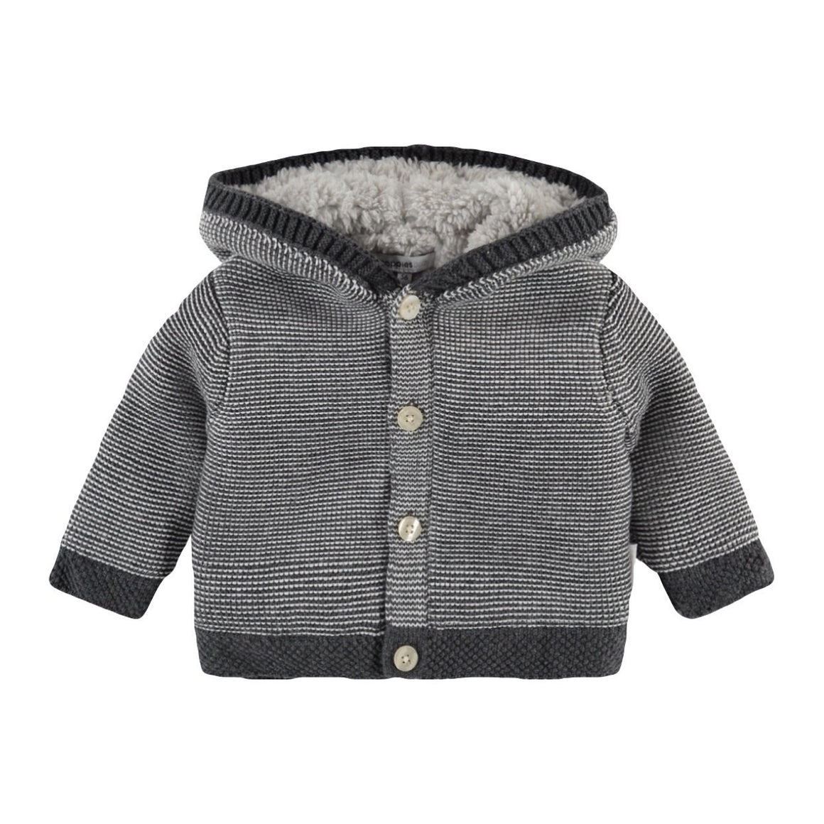 94512 - Noppies - Quartz Unisex Baby Organic Long Sleeve Cardigan - Grey Melange Cardigan Noppies