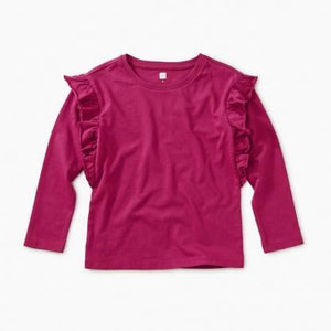 9F12108 Tea Collection Solid Bouquet Girls Ruffle Sleeve Top Long Sleeve Shirts Tea Collection