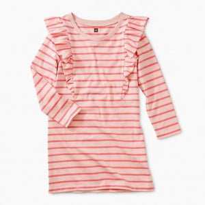 9F12309 Tea Collection Apple Blossom Ruffle Striped Girls Dress Dress Tea Collection