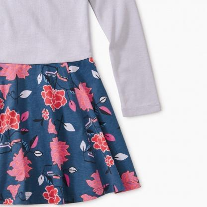 9F12324 Tea Collection Tibetan Floral Girls Skirted Dress Dress Tea Collection