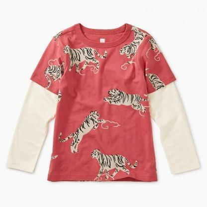 9F22115 Tea Collection Tigers and Clouds Printed Layered Tee Long Sleeve Shirts Tea Collection