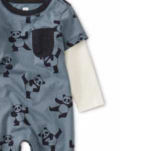 9F42501 - Tea Collection Printed Panda Layered Sleeve Pocket Baby Romper Jumpsuits / Rompers Tea Collection