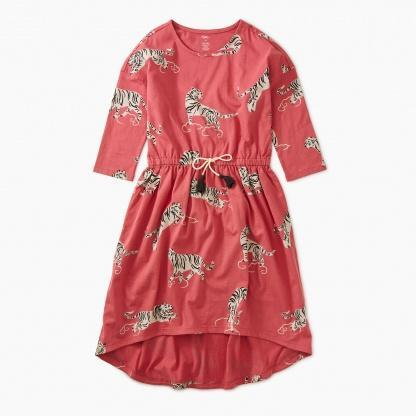 9F82300 Tea Collection Tigers and Clouds Girls Hi-Lo Dress Dress Tea Collection