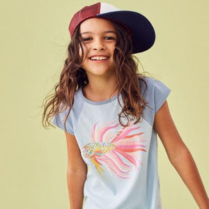 9M32103-406 Tea Collection Thalian Beta Fish Girls Raglan Short Sleeve Tee Short Sleeve Shirts Tea Collection