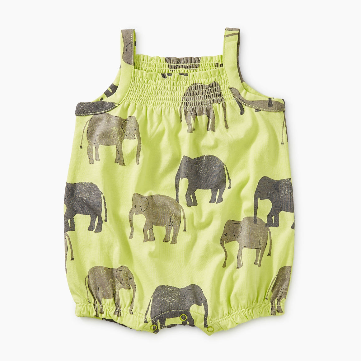 9M32500-I70 Tea Collection Printed Elephants Smocked Baby Girls Romper Romper Tea Collection