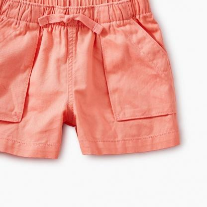 9S13204-962 Tea Collection Bubblegum Solid Woven Girls Pull-On Shorts Shorts Tea Collection