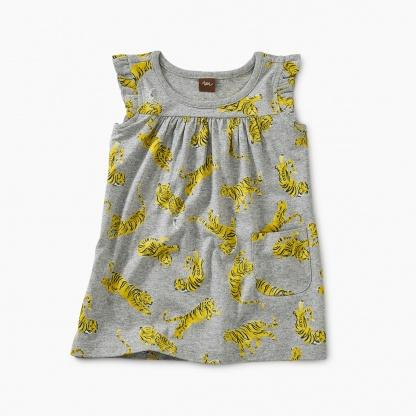9S32303-I63 Tea Collection - Printed Tigers Mighty Mini Baby Girl Dress Dress Tea Collection