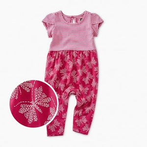 9S32502-I13 Tea Collection Patterned Tulip Sleeve Stitched Butterflies Baby Girl Romper Jumpsuits / Rompers Tea Collection