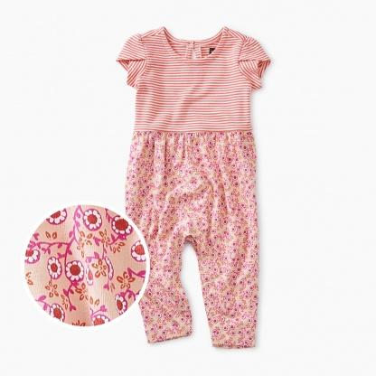 9S32502-I96 Tea Collection Patterned Tulip Sleeve Mei Mei Floral Baby Girl Romper Jumpsuits / Rompers Tea Collection