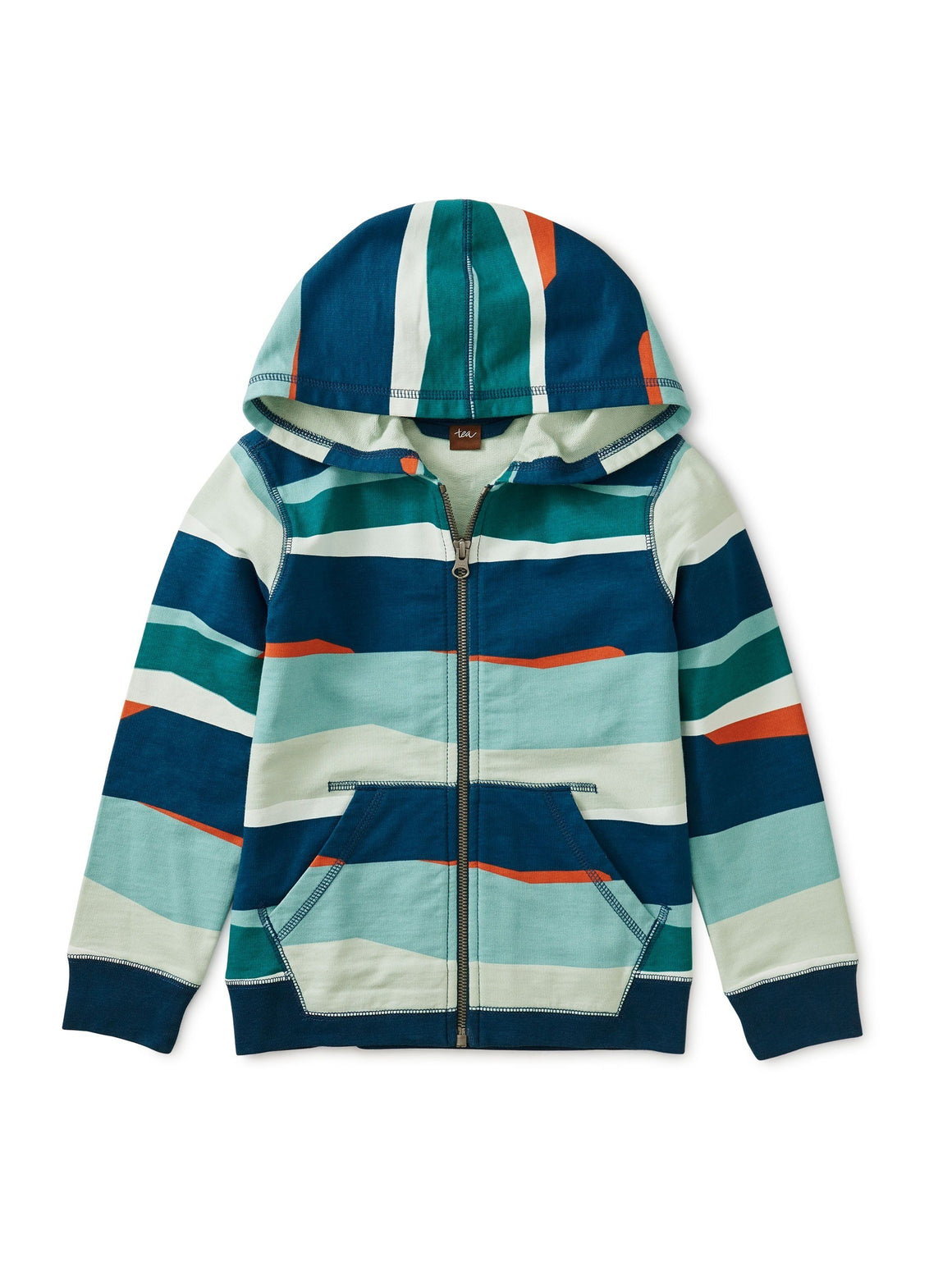 9W22131-Z41 Tea Collection Ocean Waves Printed Zip Hooded Sweatshirt Sweatshirt Tea Collection