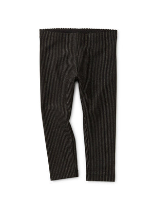 9W32202-123 - Tea Collection Sparkly Striped Jet Black Baby Leggings Leggings Tea Collection