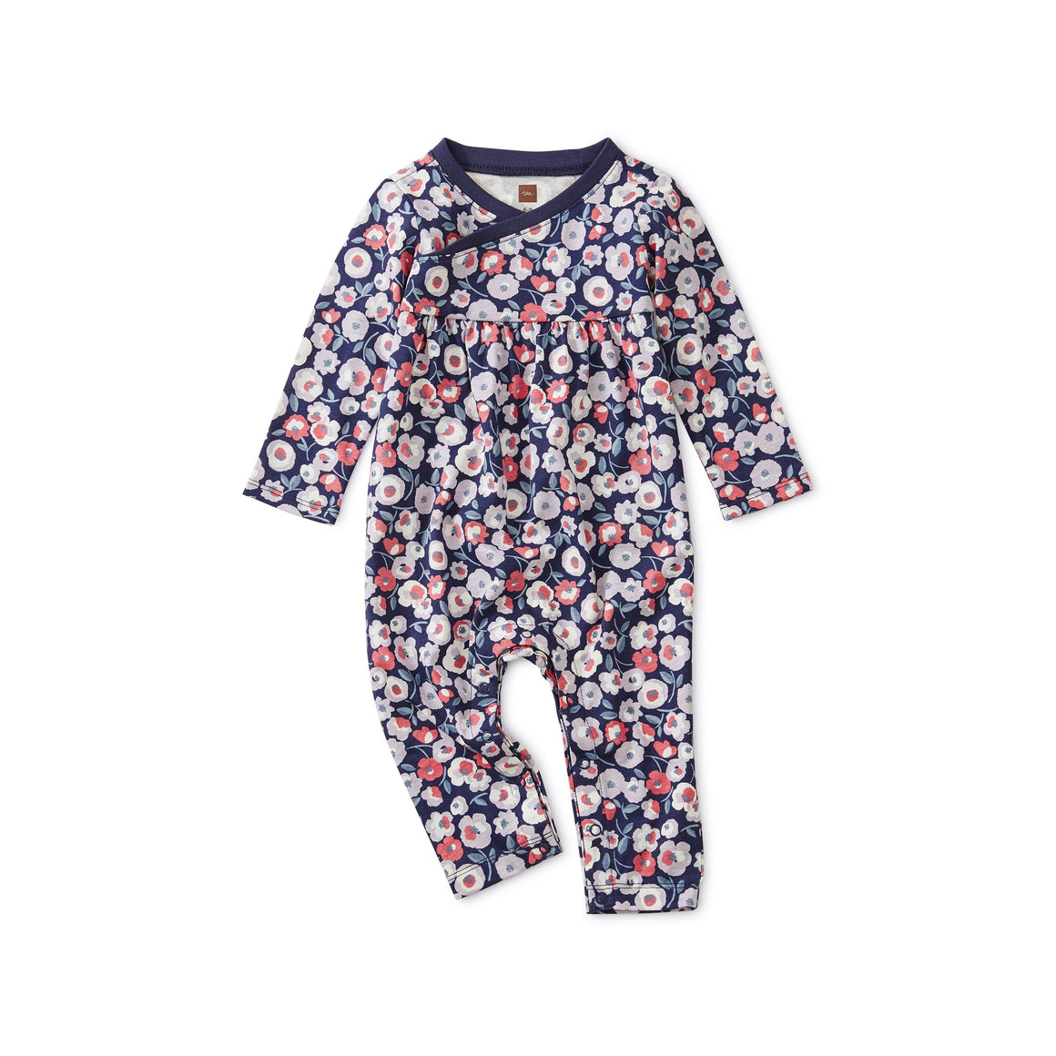 9W32521-Z17 - Tea Collection Marigold Floral Wrap Neck Baby Girl Romper Jumpsuits / Rompers Tea Collection