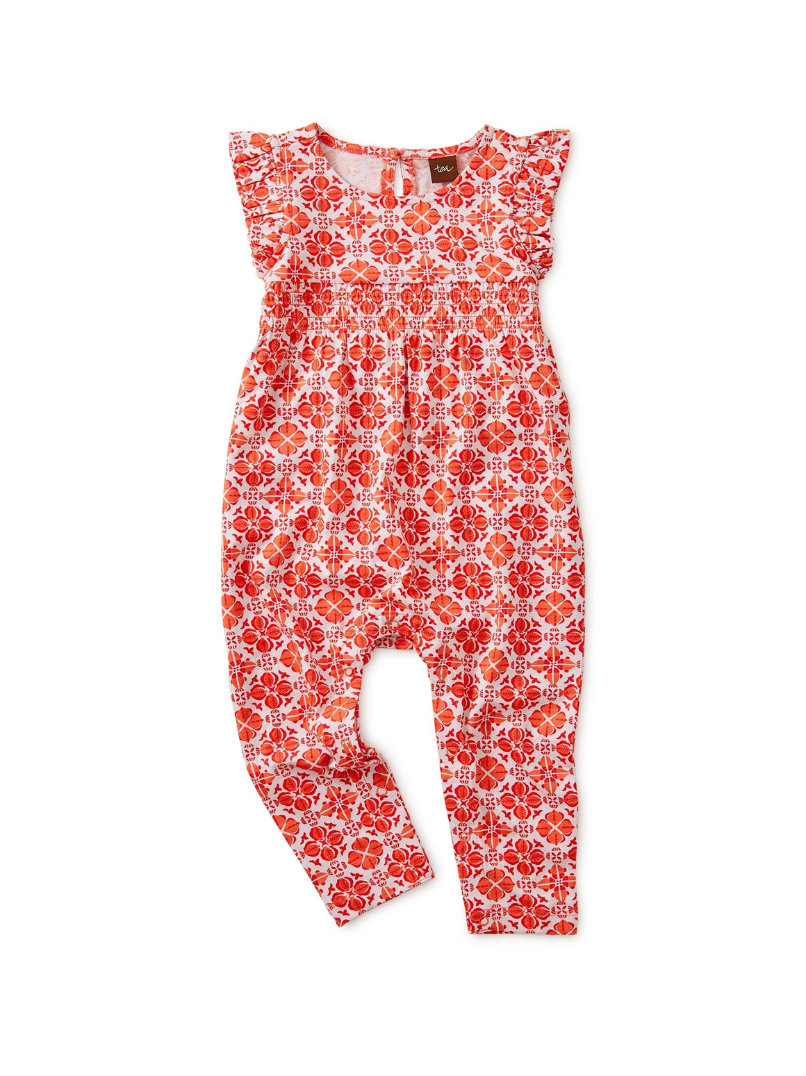 9W32523-Z22 - Tea Collection Fish Tile Ruffled Baby Romper Jumpsuits / Rompers Tea Collection
