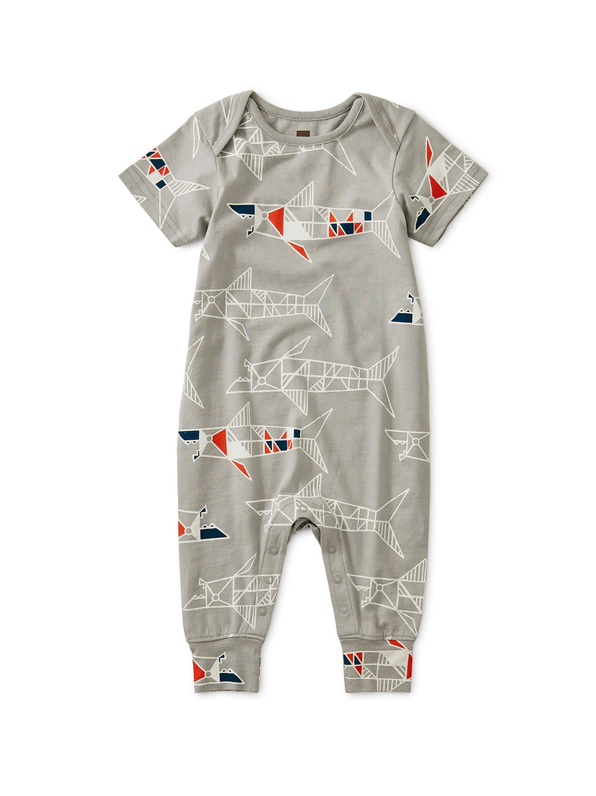 9W42509-Z40 - Tea Collection Baby Shark Short Sleeve Romper Romper Tea Collection