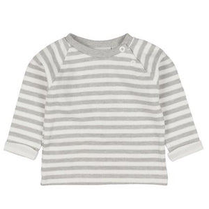 33224 Fixoni Baby Tales Grey and White Striped Baby Pullover