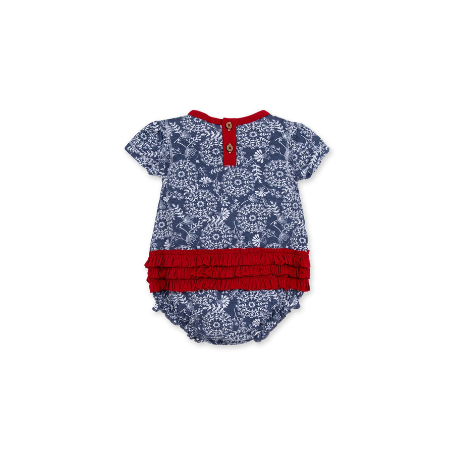 LY26575 -Burt's Bee Baby Summer Floral Art Organic Bubble Bodysuit - Blue Smoke Jumpsuit Burt's Bees Baby