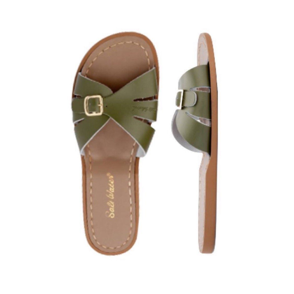Adult Classic Slide Saltwater Sandals - Olive Sandals Salt Water Sandals