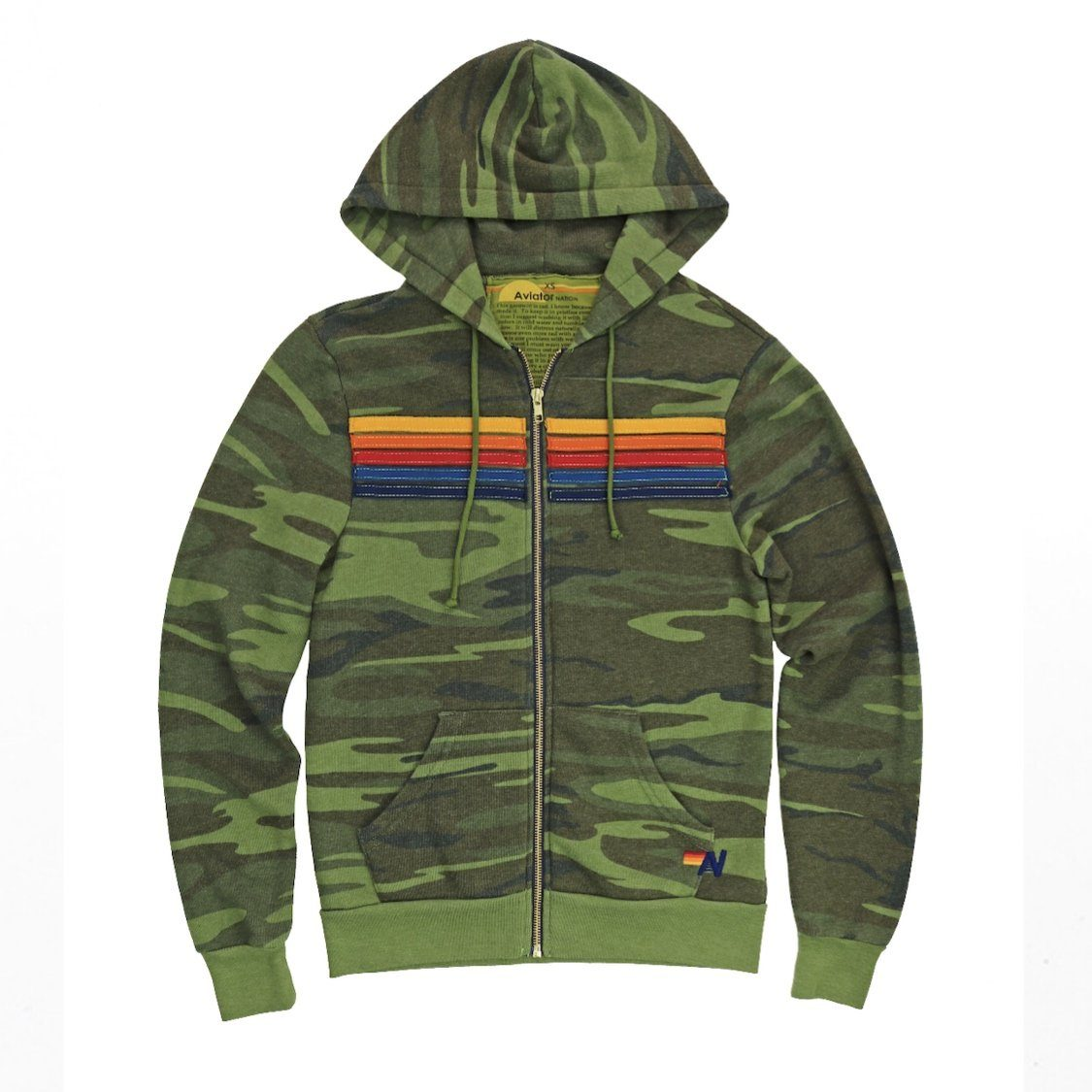 Aviator Nation - Adult 5 Stripe Camo Zip Hoodie Sweatshirt Aviator Nation