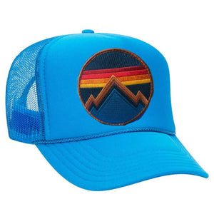 Aviator Nation - All Seasons Circle Neon Blue Adult Vintage Trucker Hat hat Aviator Nation