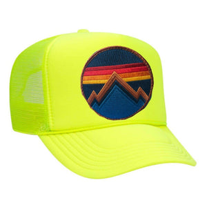 Aviator Nation - All Seasons Circle Neon Yellow Adult Vintage Trucker Hat hat Aviator Nation