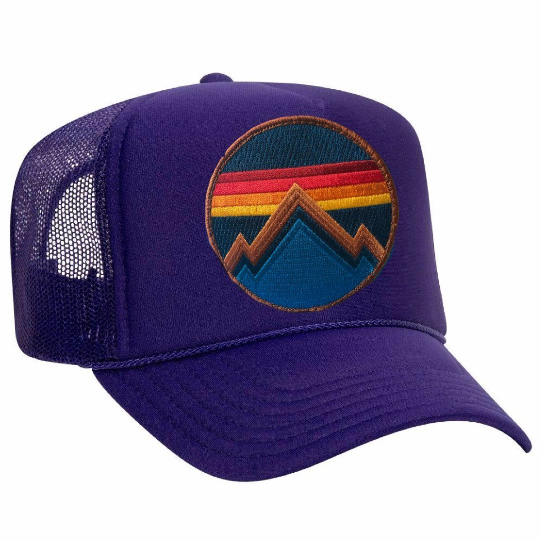 Aviator Nation - All Seasons Circle Purple Adult Vintage Trucker Hat hat Aviator Nation