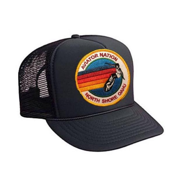 Aviator Nation - Black North Shore Oahu Adult Vintage Trucker Hat hat Aviator Nation