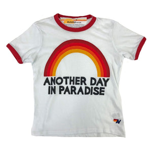 Aviator Nation - Kid's Another Day in Paradise Ringer Tee - White / Red Short Sleeve Shirts Aviator Nation