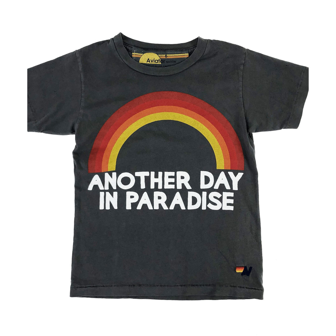 Aviator Nation - Kid's Another Day in Paradise Vintage Charcoal Tee Short Sleeve Shirts Aviator Nation