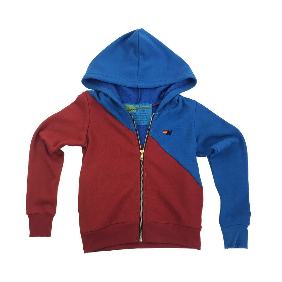 Aviator Nation - Kid's Glider Zip Hoodie - Dresden / Cherry Sweatshirt Aviator Nation