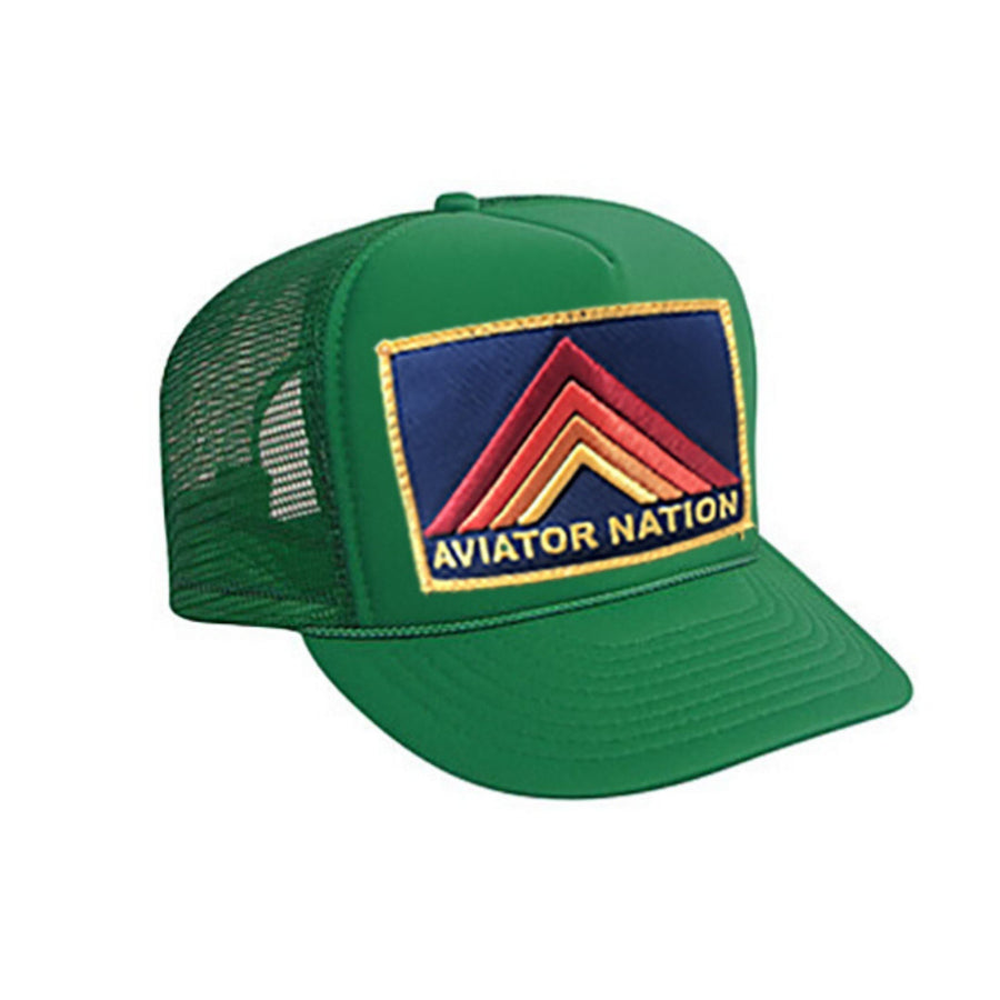 Aviator Nation - Kids Kelly Green Mountain Stripe Vintage Trucker Hat hat Aviator Nation