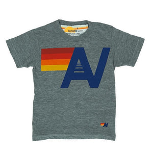 Aviator Nation - Kid's Logo Heather Grey Tee Short Sleeve Shirts Aviator Nation