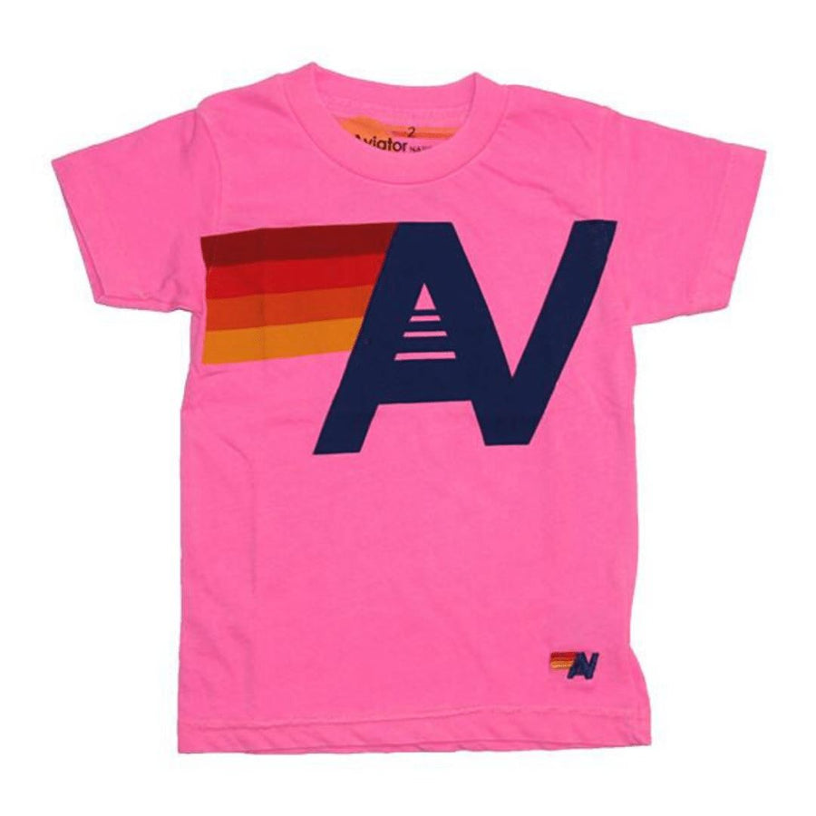 Aviator Nation - Kid's Logo Neon Pink Tee Short Sleeve Shirts Aviator Nation