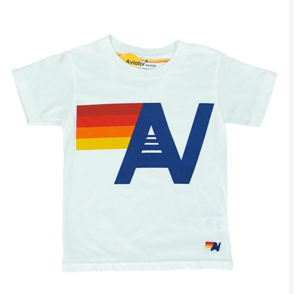 Aviator Nation - Kid's Logo White Tee Short Sleeve Shirts Aviator Nation