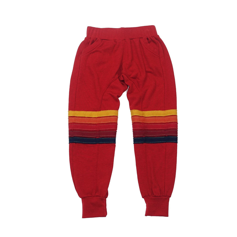 Aviator Nation - Kid's Moto Stripe Sweatpants - Cherry / Red Stripes Sweatpants Aviator Nation
