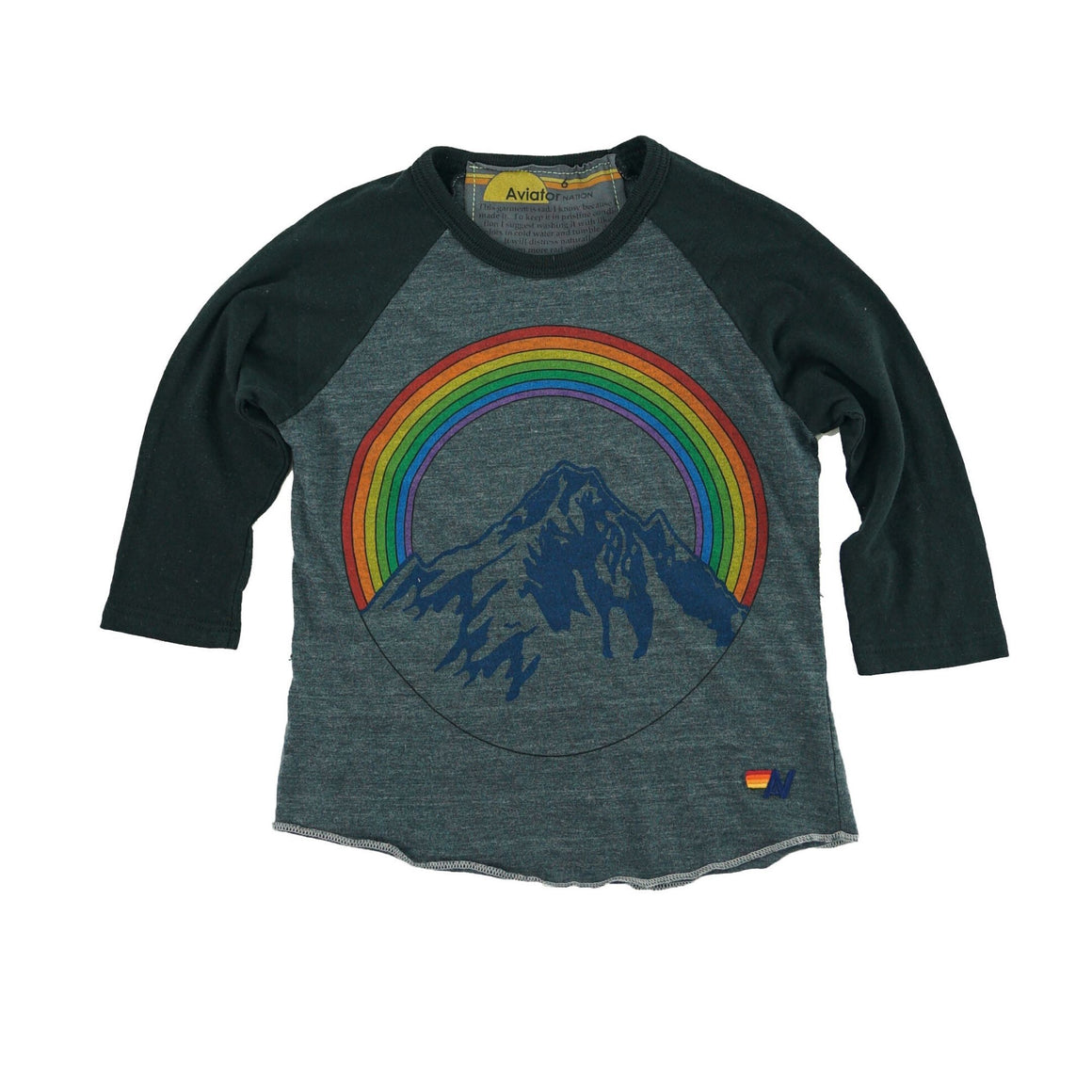 Aviator Nation - Kid's Mountain Rainbow Baseball Tee - Coal Short Sleeve Shirts Aviator Nation