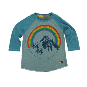 Aviator Nation - Kid's Mountain Rainbow Baseball Tee - Slate Short Sleeve Shirts Aviator Nation