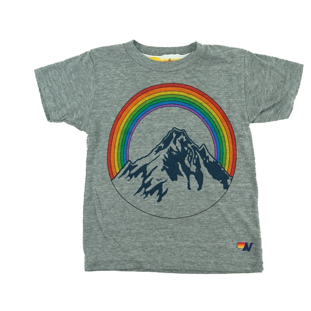 Aviator Nation - Kid's Mountain Rainbow Tee- Heather Grey Short Sleeve Shirts Aviator Nation