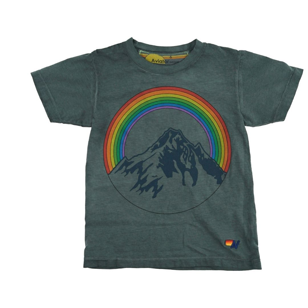 Aviator Nation - Kid's Mountain Rainbow Tee- Vintage Charcoal Short Sleeve Shirts Aviator Nation